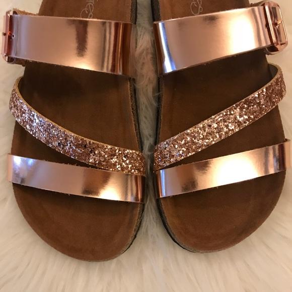 9105361a1509 •LAST 2• Rose Gold Glitter Strap Footbed Sandal